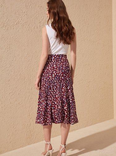 Vínová sukně s leopardím vzorem Trendyol
