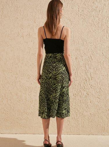 Zelená sukně se zebřím vzorem Trendyol