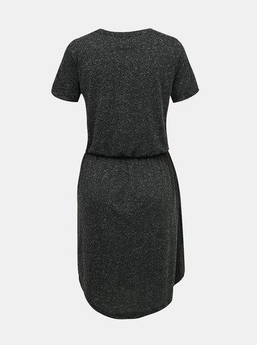 Tmavošedé žíhané basic šaty s prímesov ľanu VERO MODA