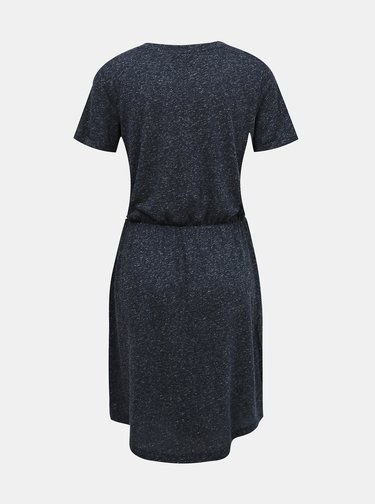 Modré žíhané basic šaty s prímesov ľanu VERO MODA