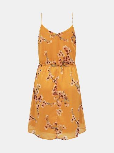 Hořčicové květované šaty VERO MODA
