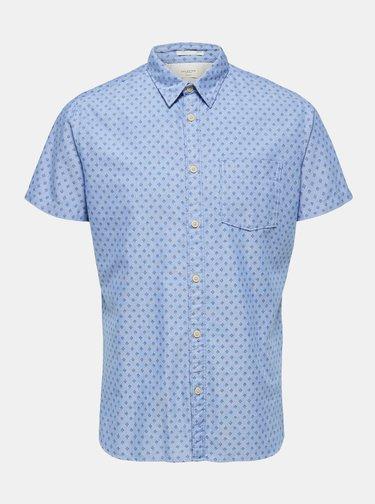 Světle modrá vzorovaná slim fit košile Selected Homme Matthew