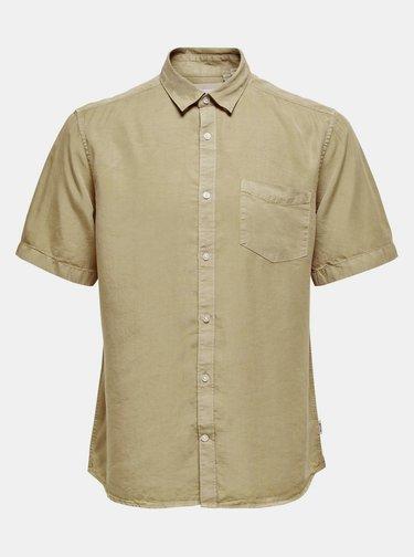 Béžová košeľa ONLY & SONS Atlas