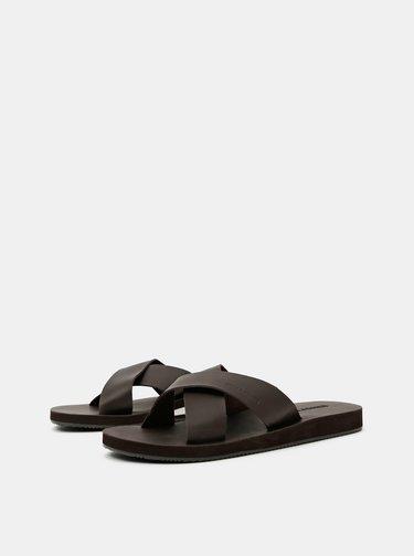 Tmavě hnědé pánské kožené pantofle Jack & Jones Nova
