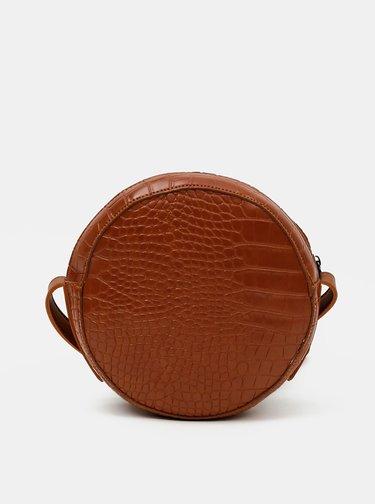 Hnedá crossbody kabelka s krokodýlím vzorom Claudia Canova Freya