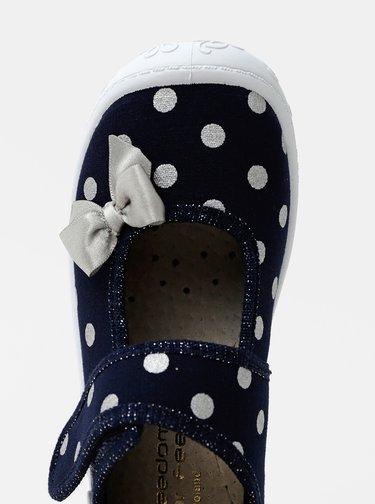 Tmavě modré holčičí puntíkované bačkory 3F