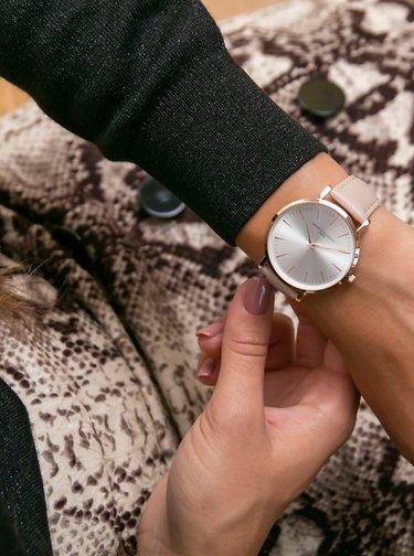 Dámské hodinky s béžovým koženým páskem Annie Rosewood Primrose