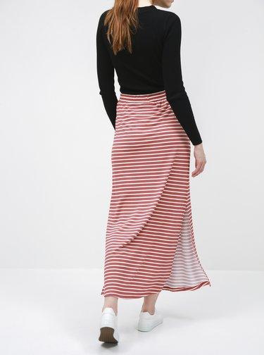 Staroružová pruhovaná basic maxi sukňa VILA Dell