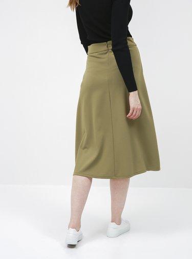 Khaki midi sukně Jacqueline de Yong Bellis