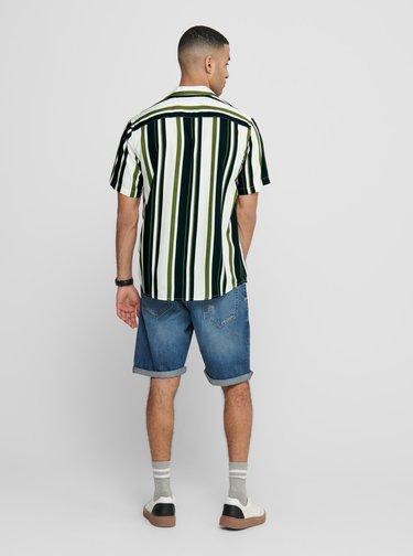 Zeleno-biela pruhovaná košeľa ONLY & SONS Wayni
