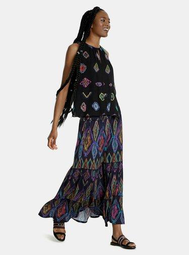 Tmavě modrá vzorovaná maxi sukně Desigual