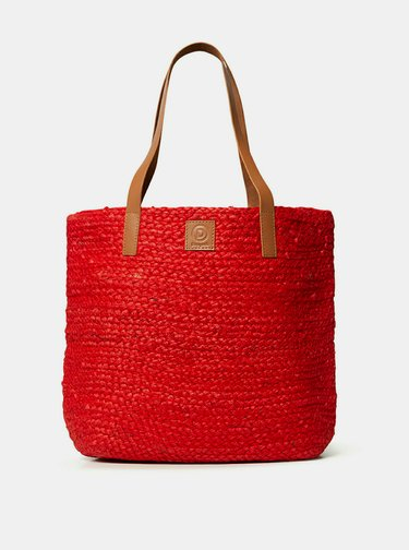 Červená jutová plážová taška Desigual