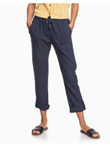 Tmavě modré zkrácené lněné kalhoty Roxy