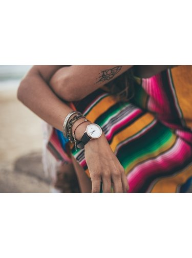Ceas de dama auruu cu curea neagra din piele vegan  - CHPO Khorshid Mini Rose