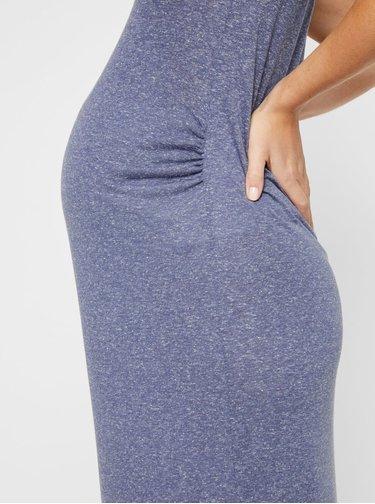 Modré těhotenské basic maxišaty s příměsí lnu Mama.licious