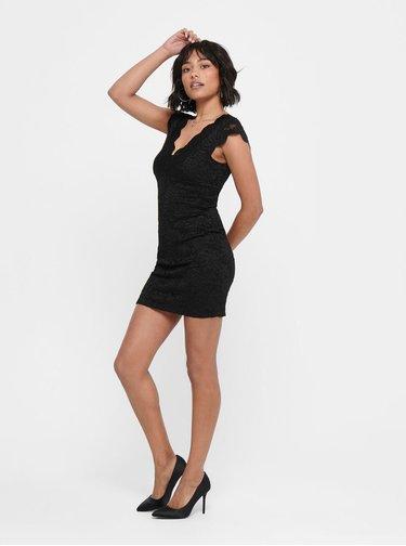 Čierne krajkové púzdrové šaty ONLY