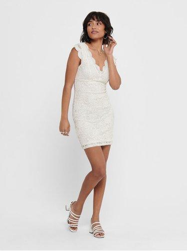 Biele krajkové púzdrové šaty ONLY