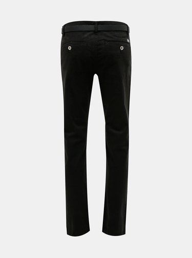 Černé slim fit chino kalhoty s páskem Lindbergh