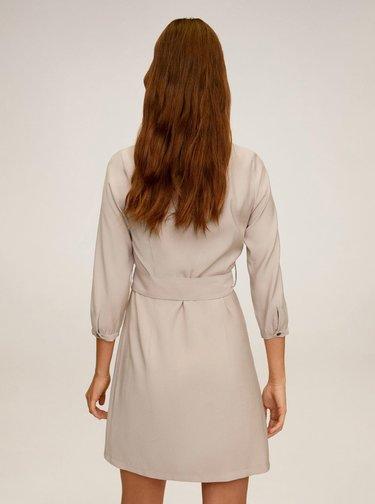 Béžové šaty s páskem Mango Tuxedo