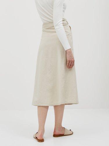 Krémová midi sukňa s prímesov ľanu Noisy May Hiram