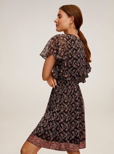Černé květované šaty Mango Boho