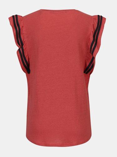Tehlové ľanové tričko s volánmi a pruhmi v oblasti rukávov Scotch & Soda