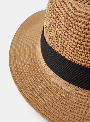 Hnedý slamený klobúk Pieces Norma