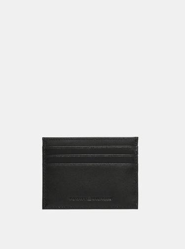 Čierne kožené púzdro na karty Tommy Hilfiger