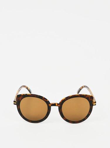 Hnědé vzorované sluneční brýle Pieces Natalia