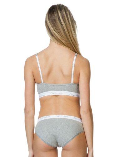 Calvin Klein šedá podprsenka s bílou gumou Bralette