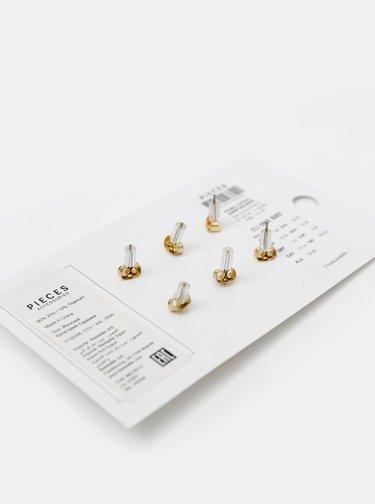 Sada troch párov náušnic v zlatej farbe Pieces Nelli