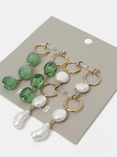 Sada troch párov náušnic v zelenej a bielej farbe Pieces Nirma