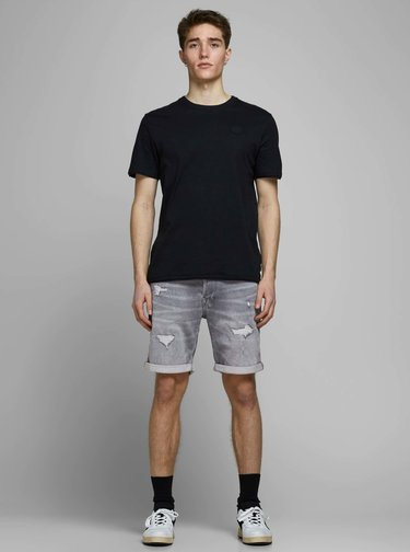 Šedé rifľové kraťasy Jack & Jones Rick