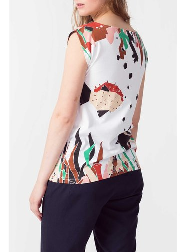 SkunkFunk biele tričko Birkide s farebnými motívmi