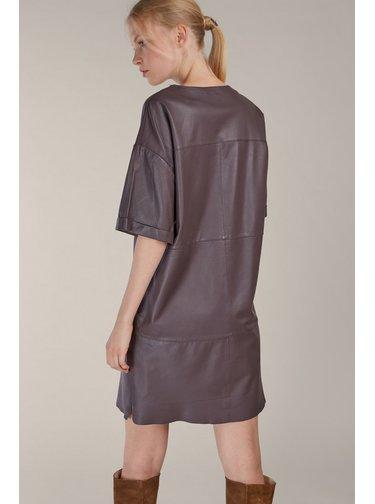 Kara fialové kožené šaty Romi