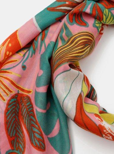 Zeleno-ružová kvetovaná šatka Pieces Namara