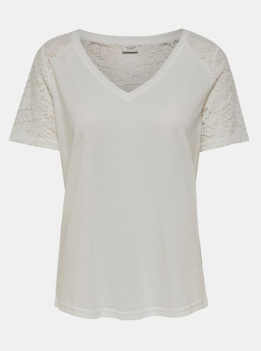 Biele tričko s krajkou Jacqueline de Yong Stinne