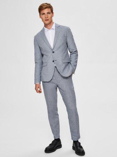 Světle modré slim fit kalhoty s příměsi lnu Selected Homme Will