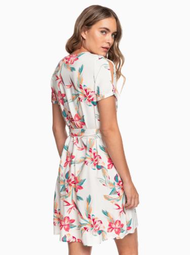 Bílé květované zavinovací šaty Roxy