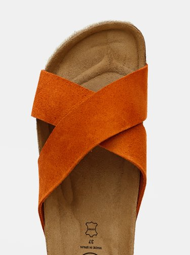 Oranžové dámské semišové pantofle OJJU