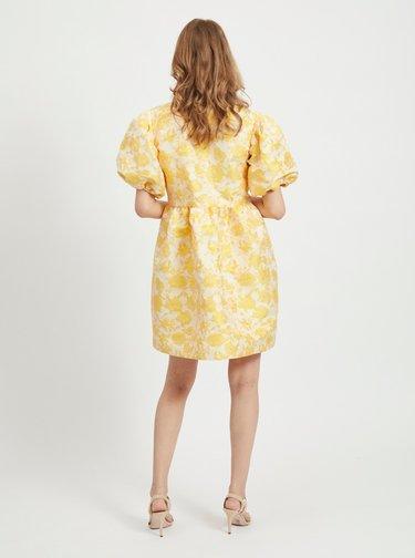 Žluté květované balónové šaty VILA Marito