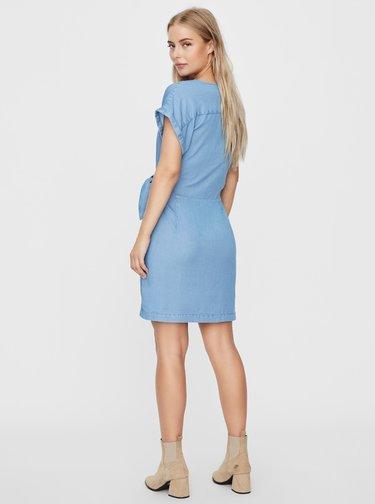 Modré džínové zavinovací šaty VERO MODA Lisa