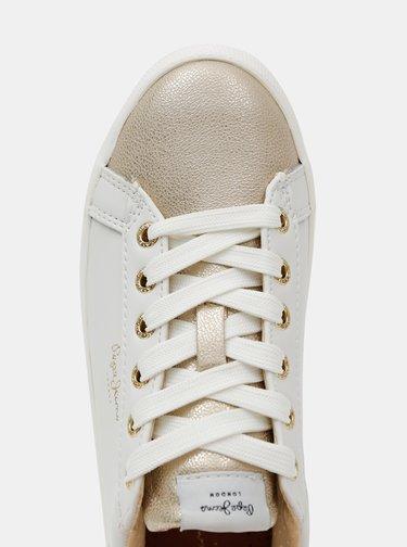 Krémové dámské kožené tenisky Pepe Jeans