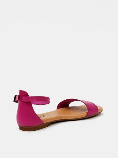 Tmavoružové kožené sandále OJJU