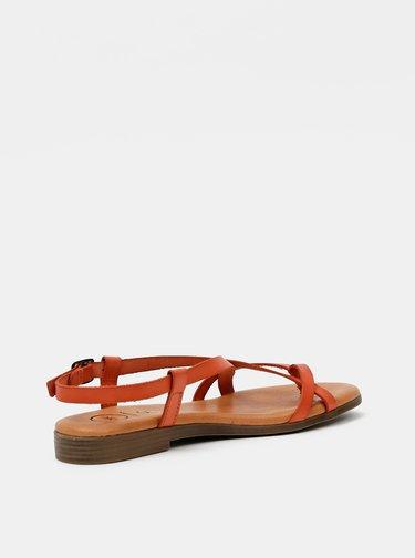Oranžové kožené sandály OJJU