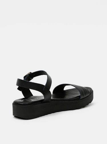 Černé kožené sandálky OJJU