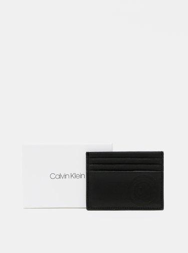 Čierne pánske kožené púzdro na karty Calvin Klein Jeans