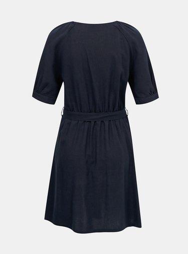 Tmavě modré lněné šaty VERO MODA Day