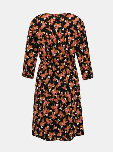Oranžovo-černé květované šaty VERO MODA Grace