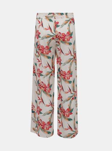 Biele kvetované široké nohavice Roxy